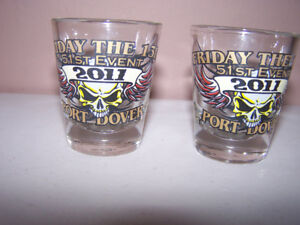 2 - VERY RARE - FRIDAY THE 13th PORT DOVER SHOT GLASSES