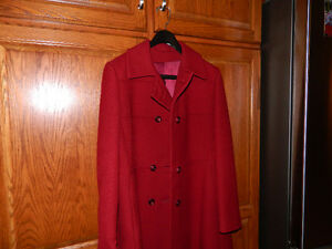 Red wool dress coat