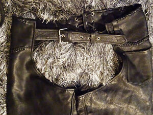 MOTORCYCLE CHAPS men's XXXL top grade Cowhide Leather BRAIDED Cambridge Kitchener Area image 5
