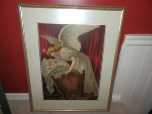 "ORIGINAL1894 CROMOLITHOGRAPH""ANGELS WHISPER"""