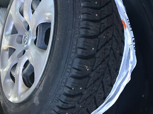Winter tire with steel rim for sale