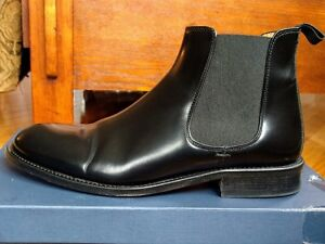 Mens Black polished Leather Chesea Boots