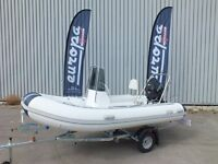 3.3m RIB PACKAGE BOAT ENGINE AND ROAD TRAILER COMPLETE WITH 20 HP TOHATSU OUTBOARD MOTOR - NEW