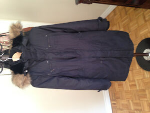 TNA Artizia black winter jacket with fur hood