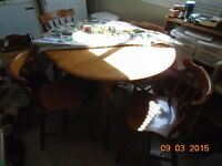 Oval Maple Hardwood Kitchen Table with Leaf and Four Chairs