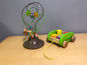 Wooden toys -bead tree and cart with blocks