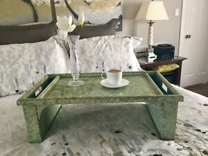 Breakfast tray in green and gold.
