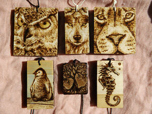 ONE-OF-A-KIND HANDMADE WOODBURNED ANIMAL/NATURE PENDANTS