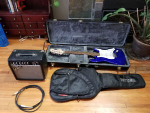 Fender Squire Strat Guitar plus accessories
