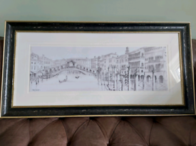 """Large framed picture of Venice 44"""" x 22.5"""""""