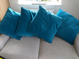 4 X large blue/green cushions and covers