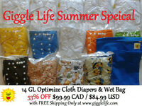 Giggle Life Summer Special 14x Optimize Cloth Diapers & Wet Bag