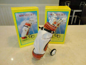 "2 New Miniature desktop 9.5"" Golf bag & Cart -Great Dad's Gift"