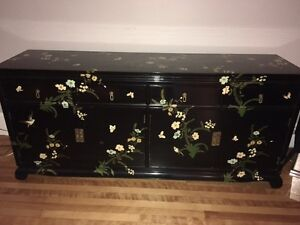 Asian lacquered buffet hutch