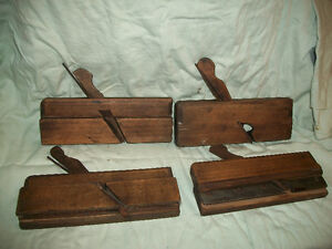 Antique Wood Moulding Planes x 4 All Different