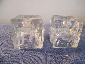 STUNNING CRYSTAL CUBE-SHAPE CANDLE HOLDERS -- HOME OR GIFT!