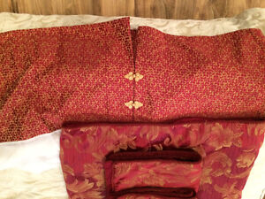 King size burgundy duvet cover and matching bed skirt