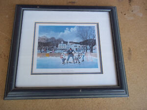 "Framed print of ""Canadian Culture"". Kids playing hockey outside"