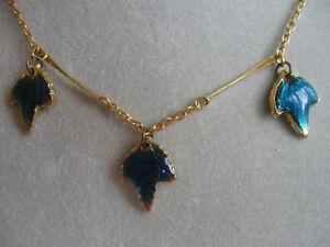 GORGEOUS UNIQUE GOLDTONE CHAIN LINK NECKLACE with Triple BLUE-GR
