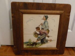Norman Rockwell-FISHING- print-picture in wooden frame-