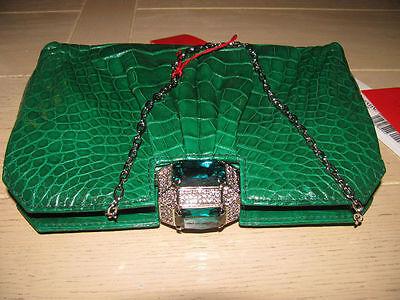 100 % Authentic Stunning Valentino Green Glazed Alligator Bag/Clutch