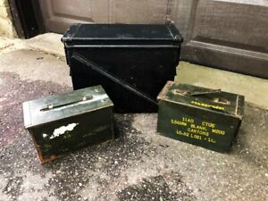 3 VINTAGE METAL AMMUNITION BOXES