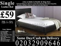 Strong PU Leather Frame Single Bedding Black Brown also have double and king Raiford