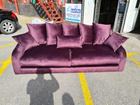 Brand New DFS Extra Large 4 Seater Sofa In Sensual Velvet Aubergine