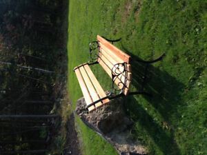 Oak and cast iron bench