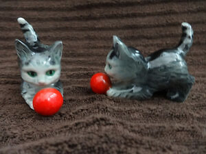 2  vintage GOEBEL kittens playing with their red balls
