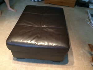Large Dark Brown Leather Ottoman in excellent condition