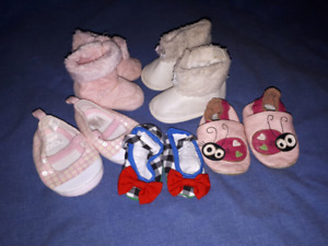 Baby Girls Shoes Boots Lot (5pair) Size 3/6mts