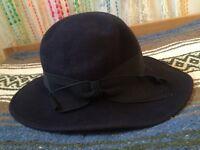 Vintage felt hat blue 1940s