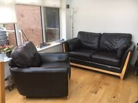 Leather Sofa and Chair - Chocolate Brown - Ercol Isola