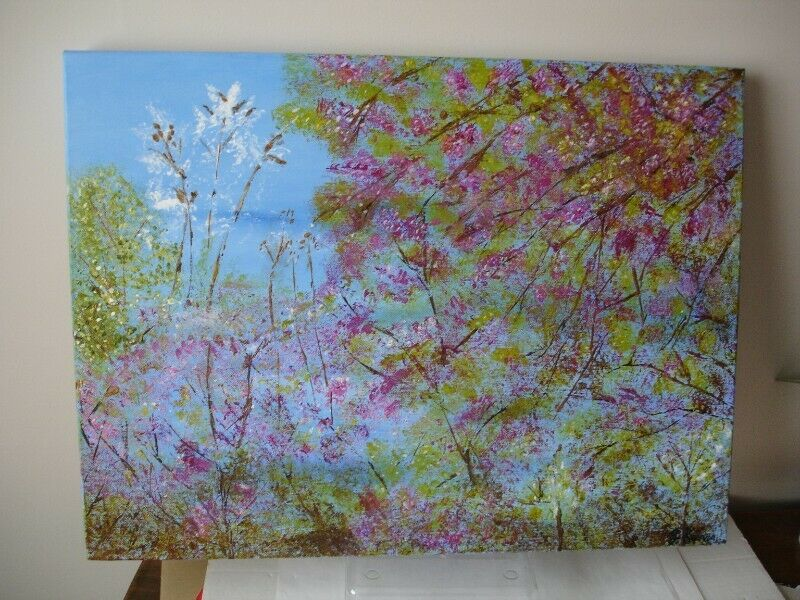 """Abstract Painting """"Spring Joy"""" Acrylic on Canvas."""