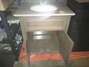 3 piece Grey bathroom cabinet set with granite top.