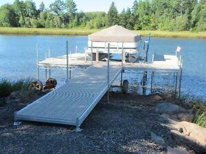 Aluminum dock decks with Shoremaster boat lift