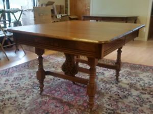 Antique Solid Oak Dining Table For Sale