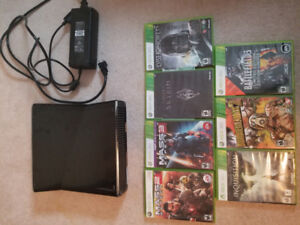Xbox 360, 7 games, and 1 controller for sale!