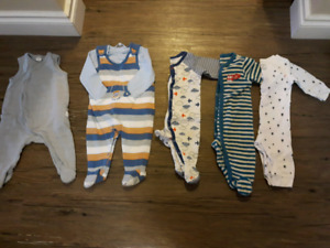 Size 3M baby boys sleeper and coveralls