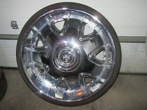 chrome rims and  tires  DUB  like new OBO  P275/25 ZR  26
