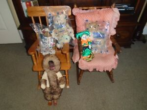 2 WOODEN ROCKING CHAIRS WITH VIOLET, EMMA,STRAWBERRIES TEDDYS,@