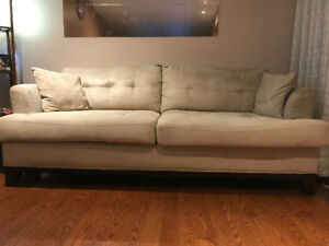MICROSUEDE CINDY CRAWFORD SOFA SET - SOFA, LOVESEAT & ARM CHAIR