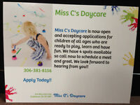4 spots available for Miss C's Daycare..Call Today!!