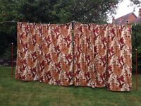1970's brown, white and rust long curtains floral design - striking design