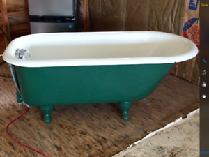 Antique Cast Iron Claw Foot Bathtub with Shower Attachment