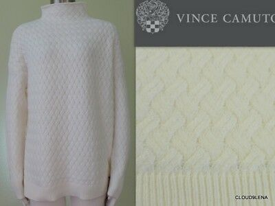 - NWT VINCE CAMUTO Funnel Neck Cable Knit Soft Cotton Blend Sweater Size S