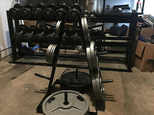 COMPLETE HOME GYM WITH COMMERCIAL DUMBELLS, PLATES AND RACKS