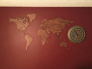 World Map: Other Colours Available, Large Wood Wall Mount