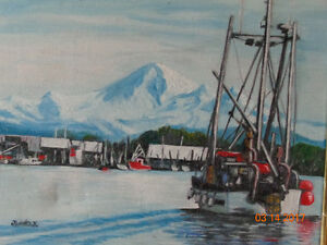 Mt. Baker & Fishing boat original art